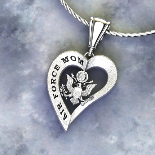 """US AIR FORCE MOM HEART PENDANT ETCHED With Diamond Etching and 18"""" Sterling Silver Chain also available in 10k, 14k and 18k white or yellow gold.  """"Made by Veterans for Veterans""""  100% Satisfaction Guaranteed"""