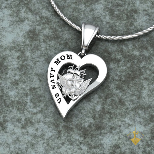 "US ARMY MOM HEART PENDANT w/18"" Sterling Silver Chain available in Sterling, 10k, 14k and 18k white or yellow gold  ""Made by Veterans for Veterans"""