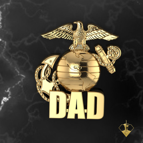 "Proud Marine Dad Lapel Pin/Tie Tac 10k available in Sterling Silver, 14k and 18k White or Yellow gold. ""Made by Marines for DAD""  100% Satisfaction Guaranteed"
