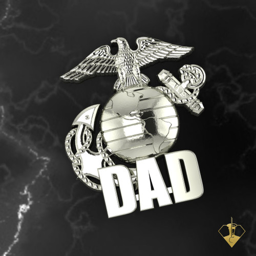 "Proud Marine Dad Lapel Pin DAD Lapel Pin or Tie Tac is available in Sterling Silver, 14k and 18k White or Yellow gold. ""Made by Marines for DAD""  100% Satisfaction Guaranteed"
