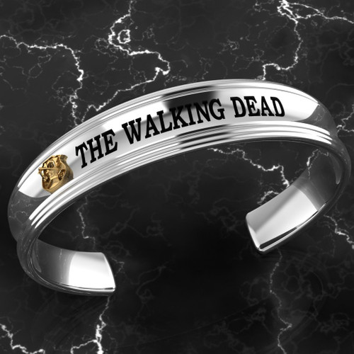 The Walking Dead Bracelet Solid Sterling Silver with 10k Yellow Gold Made by Randall Rudd Bravo 1/9