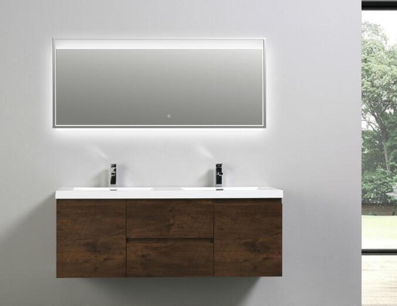 Moreno Mob 60 Double Sink Rosewood Wall Mounted Modern Bathroom Vanity With Reeinforced Acrylic