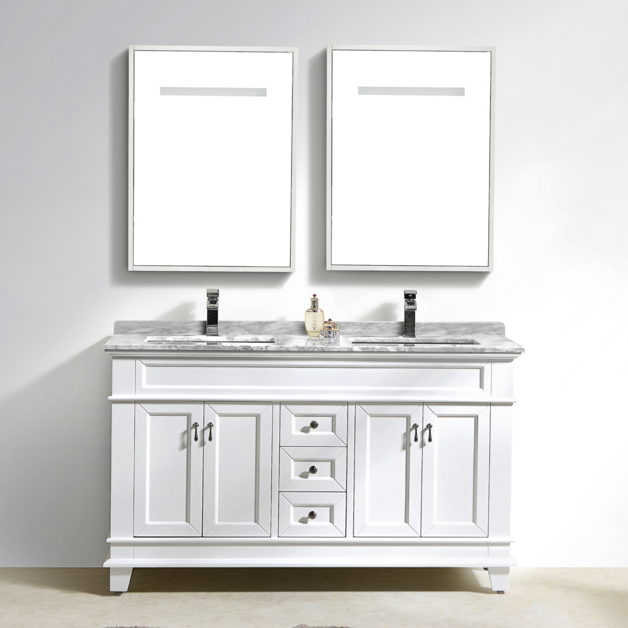 Moreno Fayer 60 Double Sink White Bathroom Vanity With Carrara Marble Top