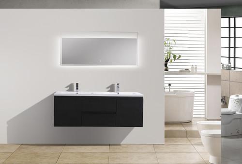 Moreno Mob 60 Double Sink Black Wall Mounted Modern Bathroom Vanity With Reeinforced Acrylic