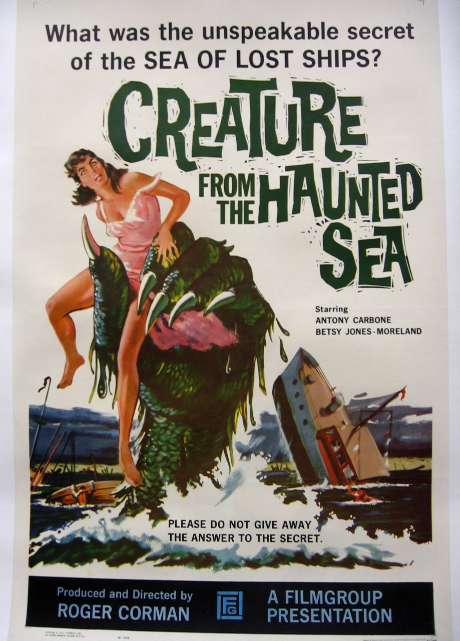 creature from the haunted sea canvas backed movie poster arkham