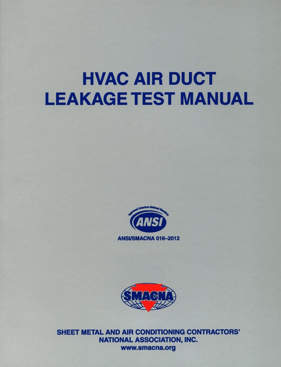 HVAC Air Duct Leakage Test Manual - ISBN#9781617210273