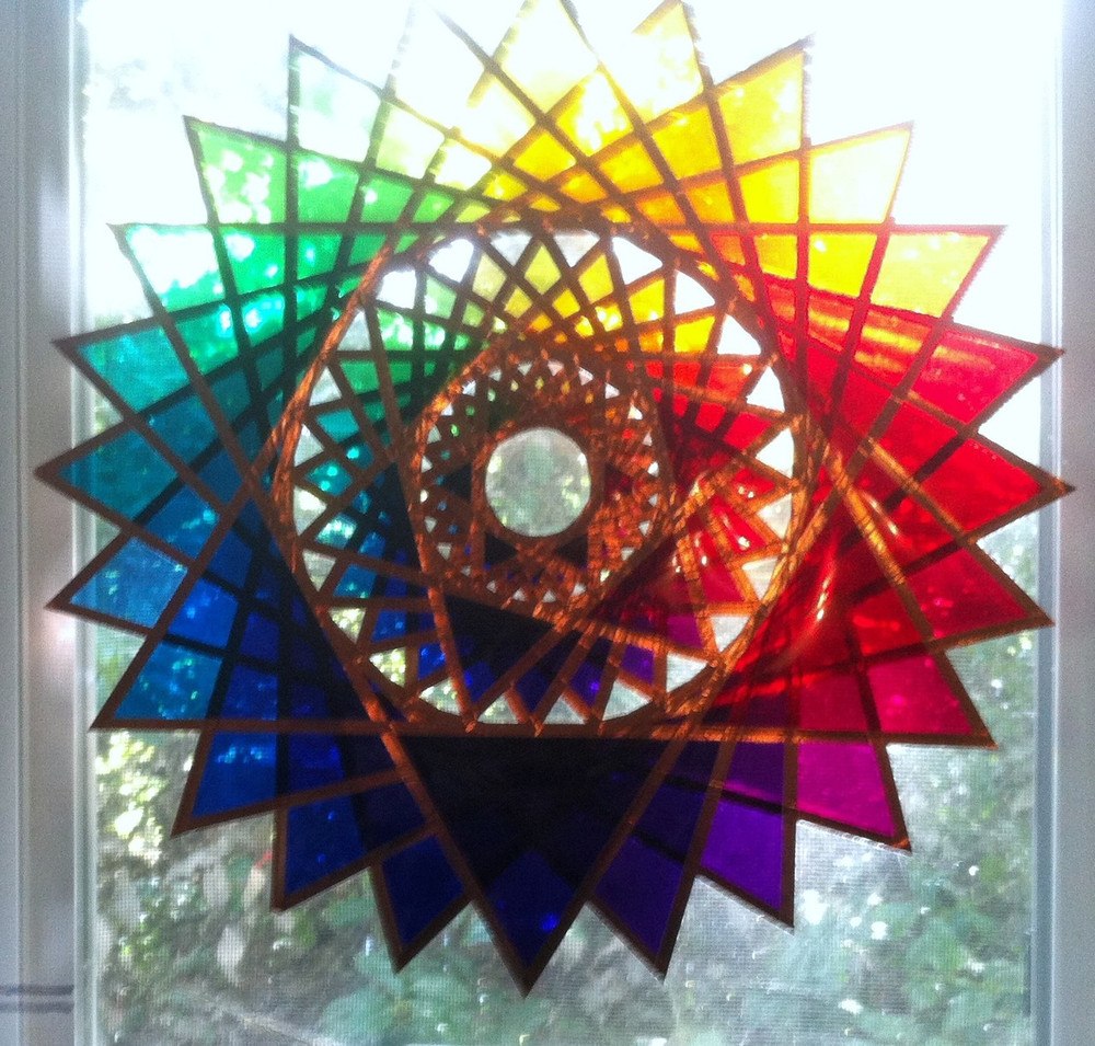 """14 """" Star of One with Gels on Plexiglass"""