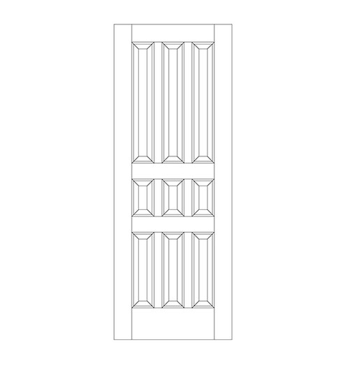 9-Panel Wood Door (DR9020)