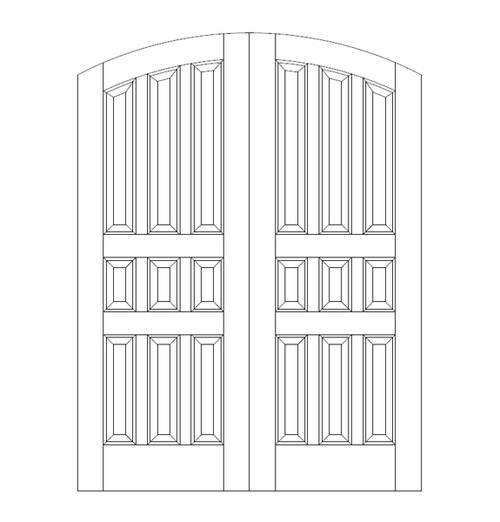 9-Panel Wood Door (DR9520CA)