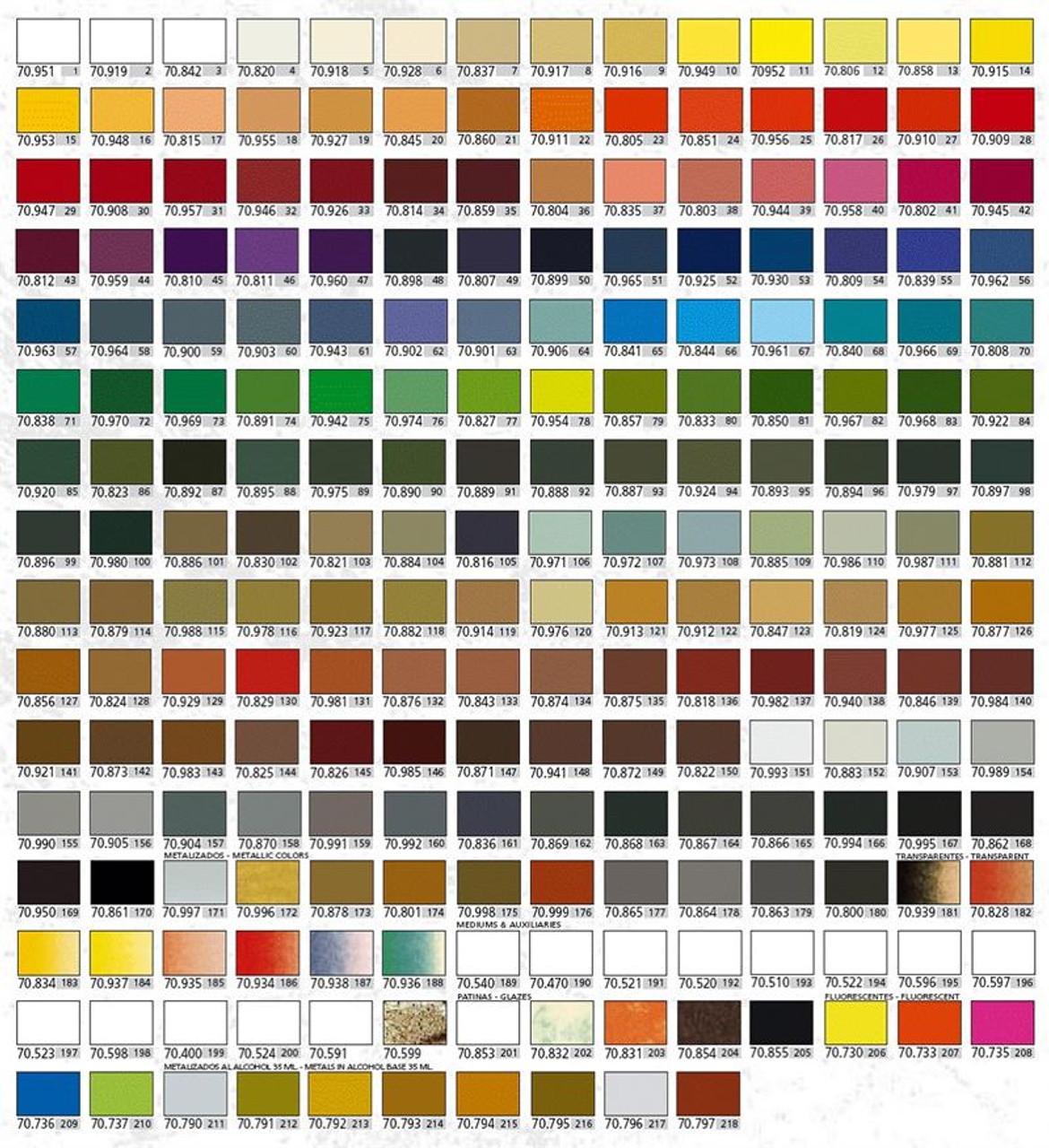 Vallejo Acrylic Model Colors Paint Set 217 Bottles