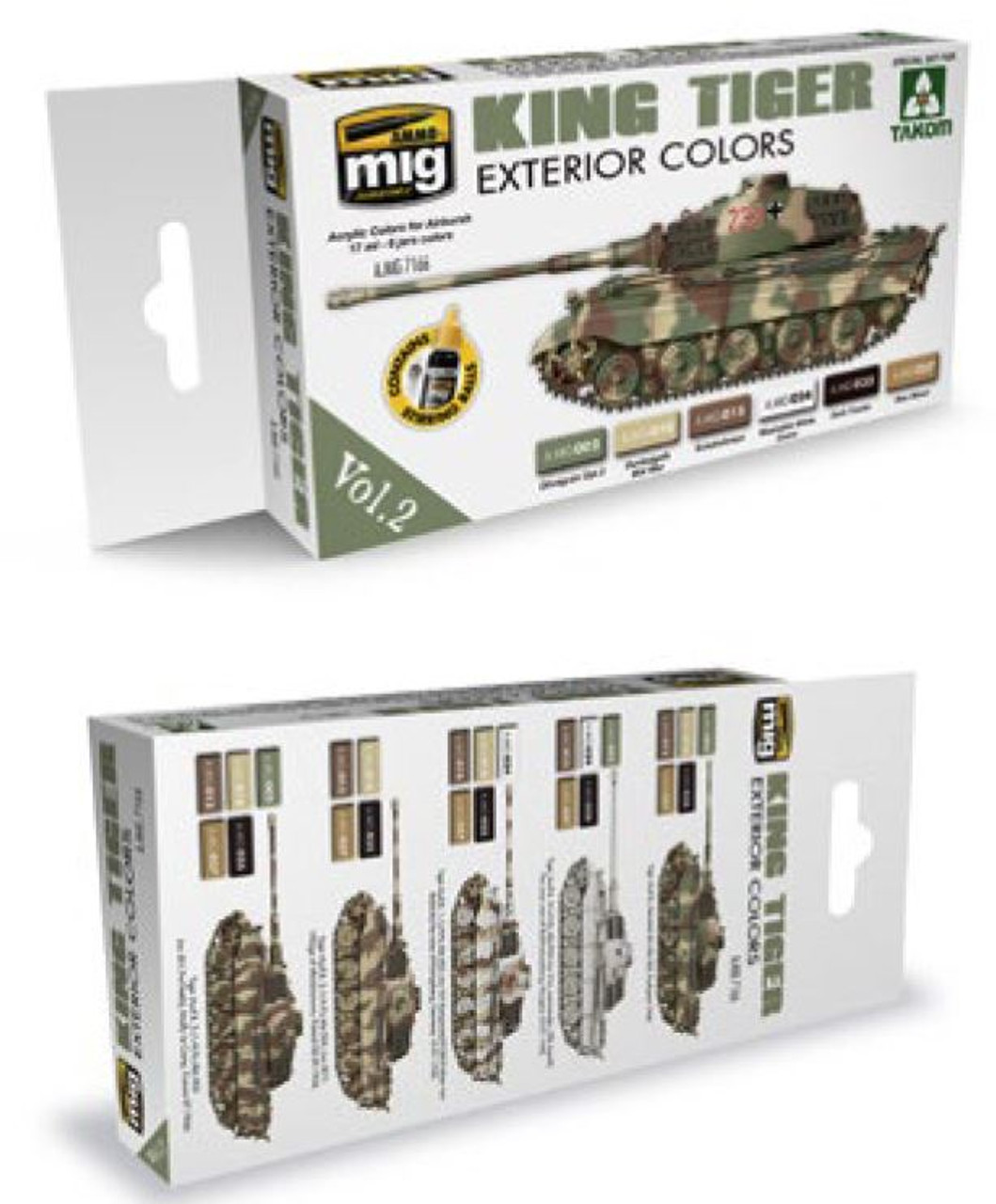 King Tiger Exterior Color Acrylic Paint Set (Takom Edition) AMMO of ...