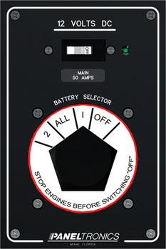 Paneltronics 9982201 DC Battery Selector Marine Panel with 50 AMP Main