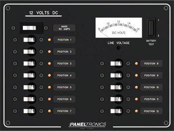Paneltronics 9992206 - DC 12 Position Panel w/ Main and Voltmeter