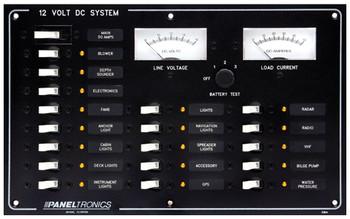Paneltronics 9993204 DC 18 Position Circuit Breaker Marine Panel w/ Main and Meters