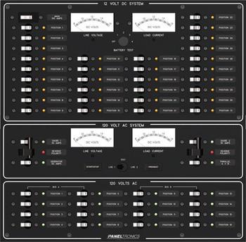 Paneltronics 9994403 31 DC Position w/ Main & 16 AC Position Circuit Breaker Marine Panel w/ Dual Shore Mains and Gen Main