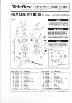 Hynautic HS-05 Seal Kit for H-50 Series Helm Pumps