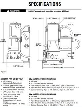 SeaStar PA6020 Marine Hydraulic Steering Power Assist and Type 2 AutoPilot Pump 12v 110cu.in.