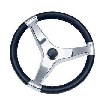 "13 1/2"" Thirteen And A Half Inch Evo Pro 316 Cast Stainless Steel Steering Wheel with Black Pastic Cap 7241321FG - 3/4"" Three Quarter Inch Tapered Shaft - N/A Spoke Size - 22 Twenty Two Degree Of Dish"