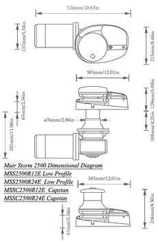 Muir Storm 2500 Capstan 12V Windlass MSSC2500R12E