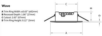 Imtra Wave PowerLED - Cool White 10-40VDC 4.7W - Custom Finish Trim Ring- Boat Downlight ILIM60101C  Dimensions