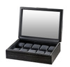 VOLTA MATTE CHARCOAL GRAIN PATTERN 10 WATCH CASE WITH SEE THROUGH TOP