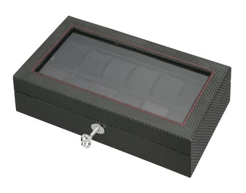 Watch Case | Diplomat See Through Black Carbon Fiber Pattern Twelve Watch Case with Black Suede Interior