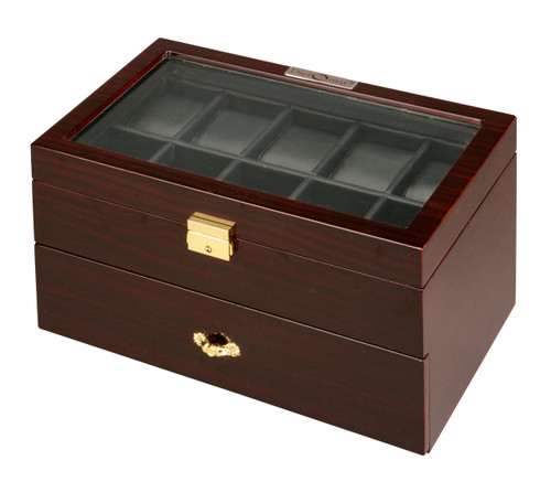 Watch Winders | Diplomat Twenty Watch Case With Black Leatherette Interior and Locking Lid