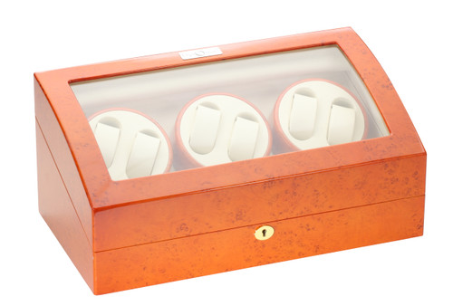 Watch Winder for Six | Diplomat Estate Burlwood Finish Six Watch Winder