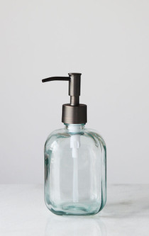 Cubo Square Round Recycled Glass Soap Dispenser