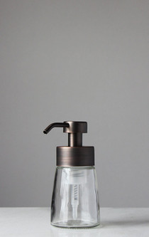 Small Glass Foam Soap Dispenser with Bronze Pump