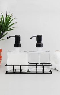 Urban Glass Soap + Lotion Dispenser Set w/ Metal Stand