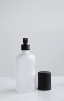 Apothecary Frosted Glass Mist Bottle with Black Metal Aluminum Mist Nozzle w/ Cap