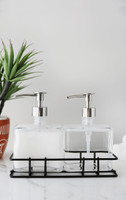 Urban Glass Soap + Lotion Dispenser Set w/ Metal Stand