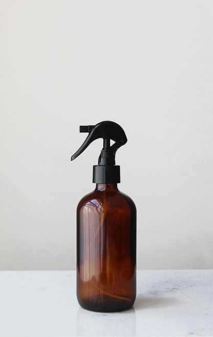 Apothecary Amber Glass Mist Bottle with Black Mist Nozzle