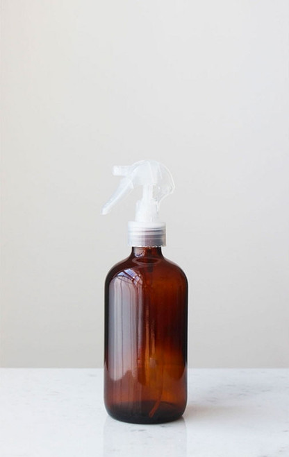 Apothecary Amber Glass Mist Bottle with Clear Mist Nozzle