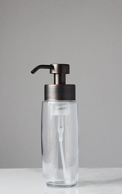 Large Glass Foam Soap Dispenser with Bronze Pump