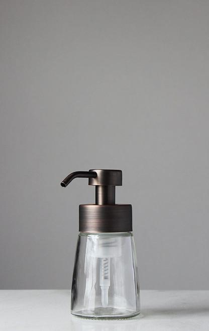 Small Glass Foam Soap Dispenser with Bronze Pump
