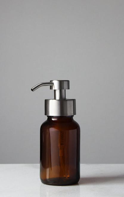 Amber Apothecary Glass Foam Soap Dispenser with Stainless Pump