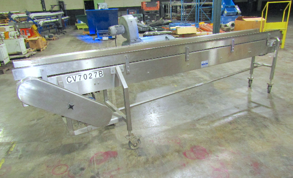 Nercon 12 in. Wide x 10 ft. Long Stainless Steel Table Top Conveyor 1Hp 208-460V