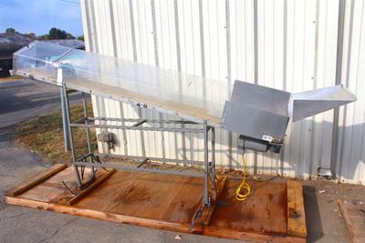 "QC Industries Incline Conveyor 12"" Wide x 9' Long 90Vdc Boston Gear Motor"