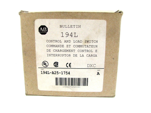 Allen Bradley 194L-A25-1754 Series A Control and Load Switch 194LA251754