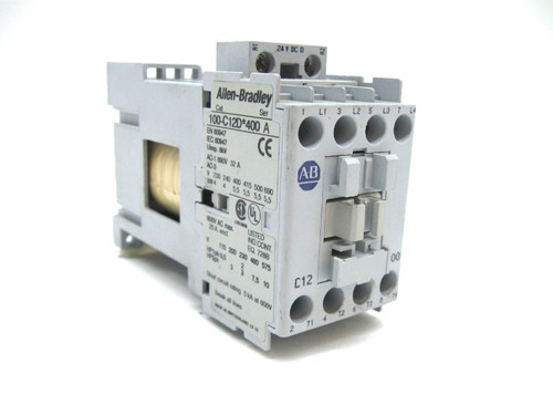 Allen Bradley 100-C12D 400 Contactor, 4 Pole, N.O. Contacts, 24V Coil,12A
