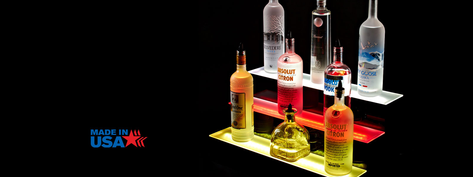 Tiered LED Bar Shelf Displays