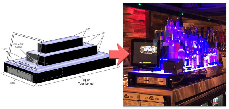 Custom LED Bar Shelves Before & After