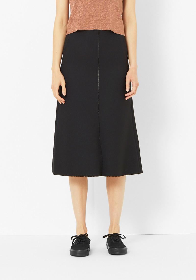 Tibi Black Crepe Seam Skirt