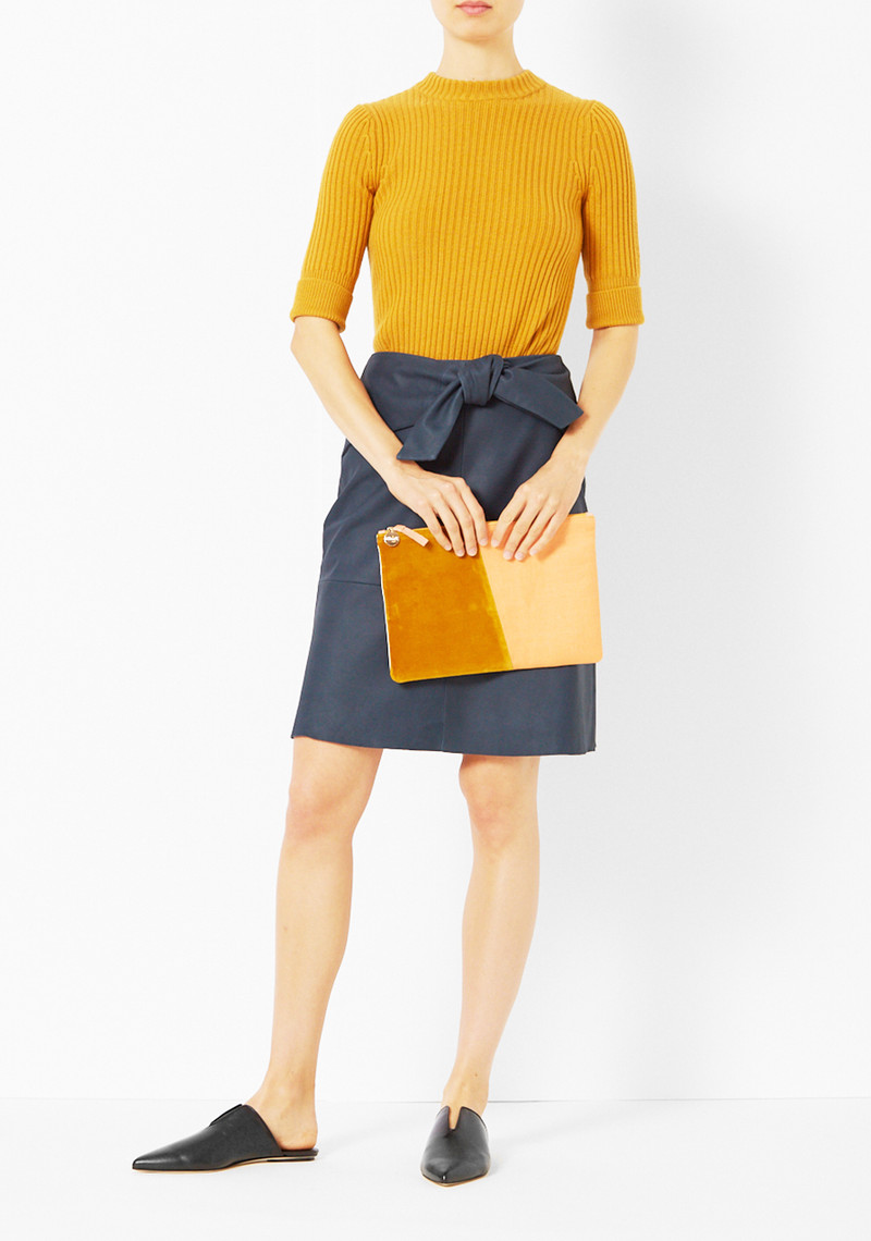 Veda Navy Agnes Leather Skirt