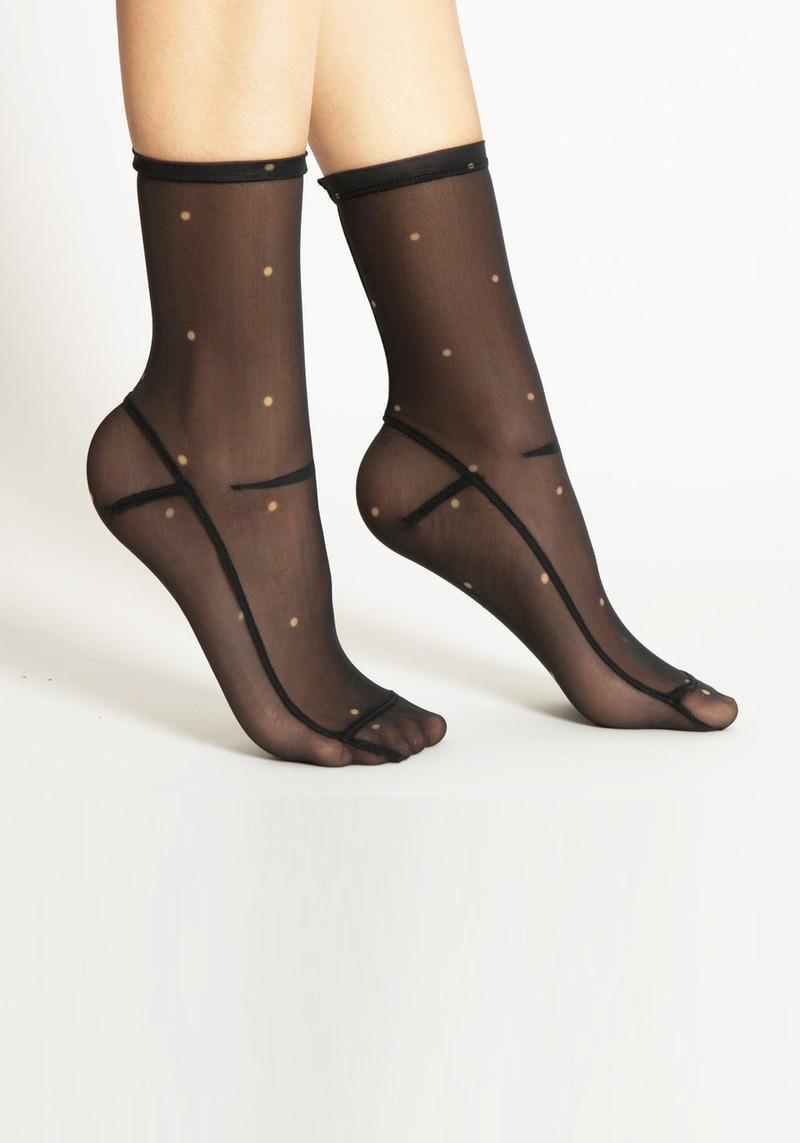 Darner Black Polka Dot Mesh Socks