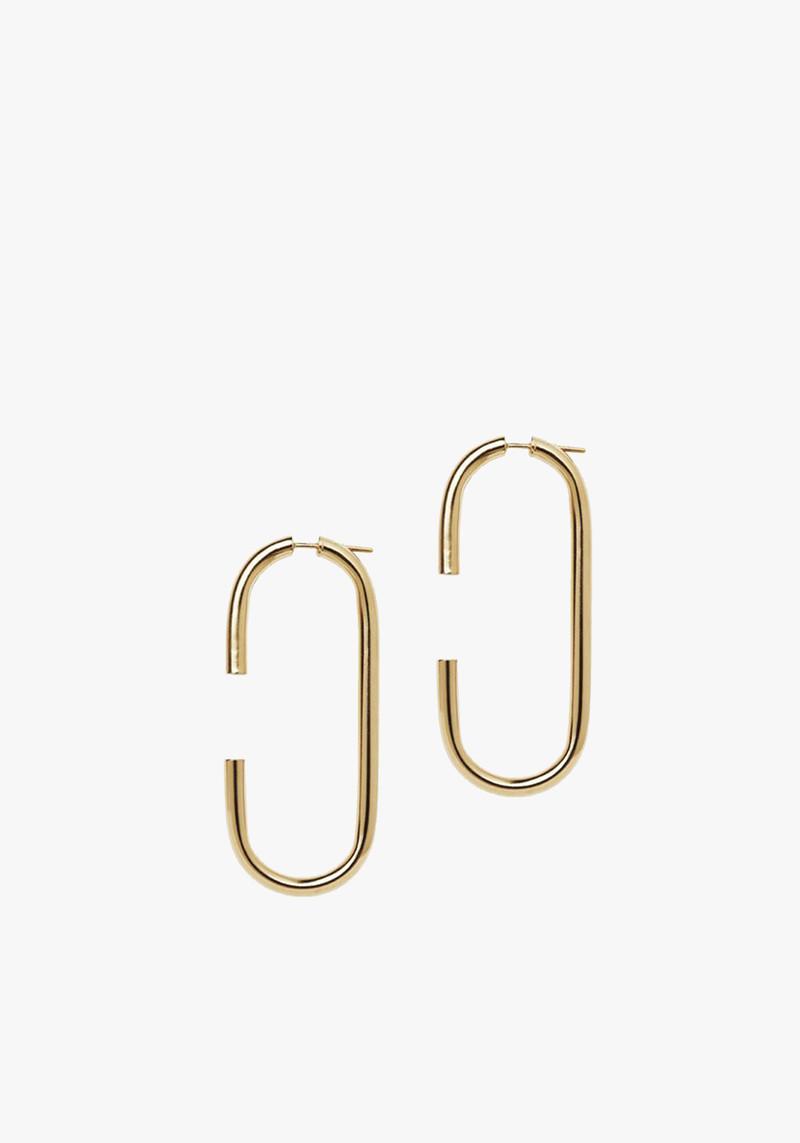 Maria Black Brushed Vertical Earring - Brushed Gold