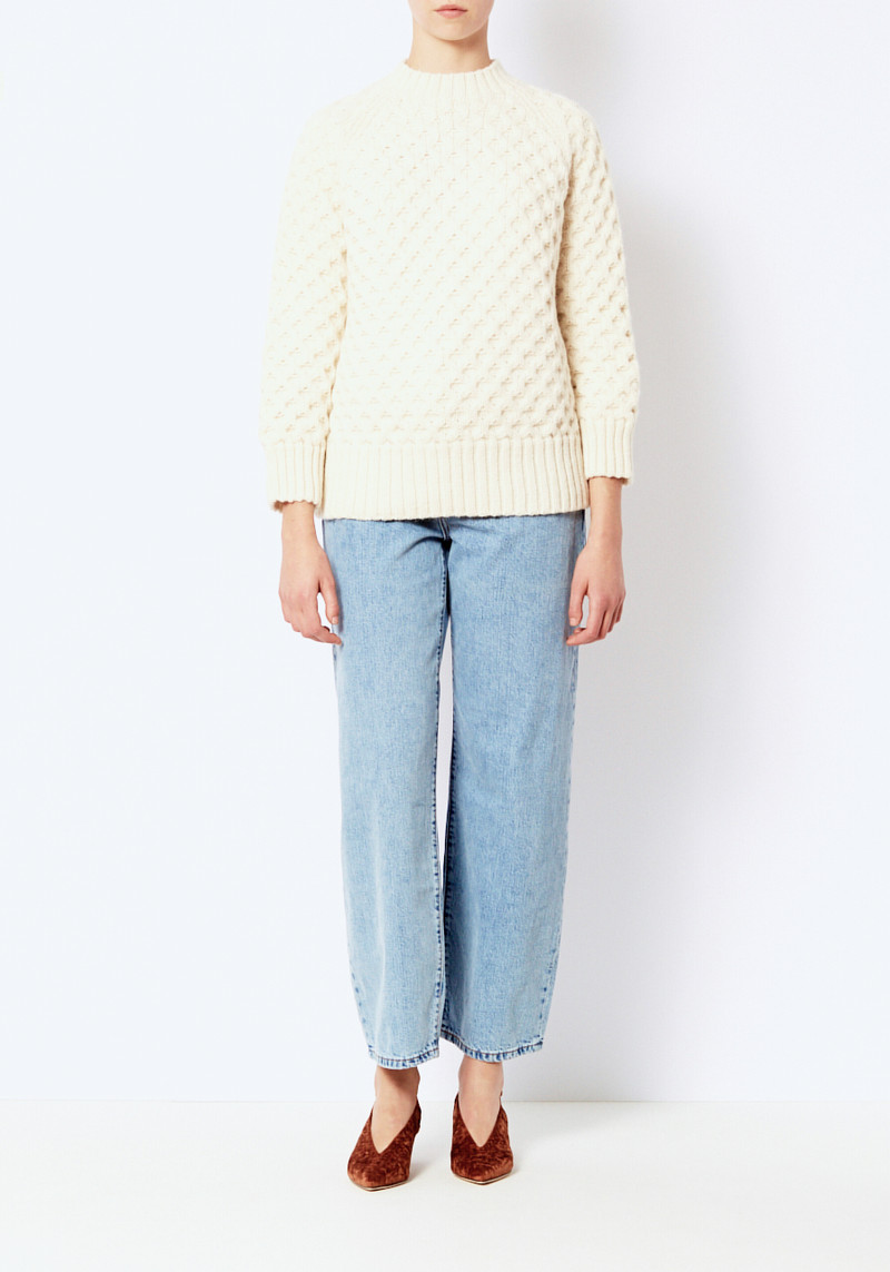 Micaela Greg Cream Honeycomb Sweater