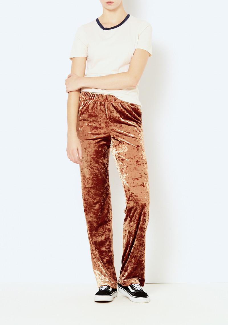 Tibi rust relaxed stretch velvet pant